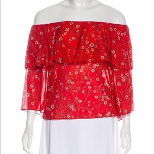 Alice+Olivia off shoulder red flower print top, M